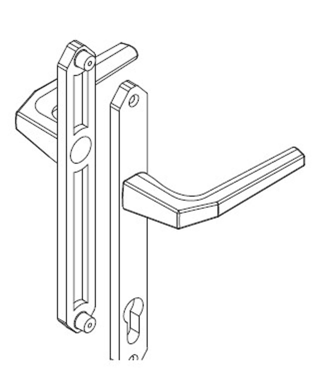 Temporary Hoppe construction handle set WITH keyed cylinder 2605353