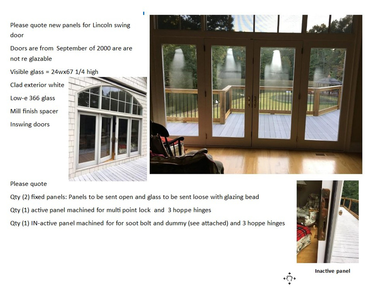 Quantity (4) Lincoln replacement panels for dbl french door and two sidelites, loe 272 glass