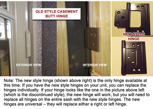 Butt hinge with (4) #7x 1 1/4 #2339710 & (3) #7x5/8 # 2169463 matching color screws for casement window