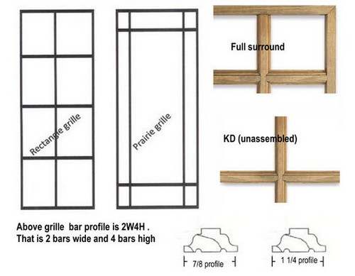 Full surround rectangular wood grilles for Semco casement windows
