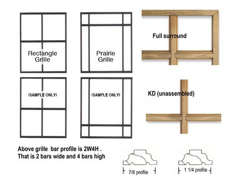 LINCOLN DOUBLE HUNG (GEN-4)  PRAIRIE STYLE WOOD WOOD GRILLE FOR UNITS MANUFACTURED FROM APRIL OF 2004 TO PRESENT