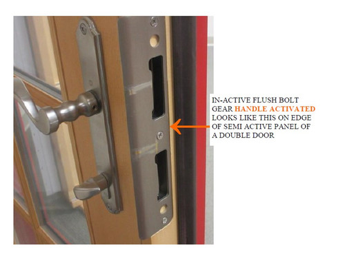 Gear IN-ACTIVE flushbolt 199768 /handle activated for a Lincoln double swing door 2002 to present