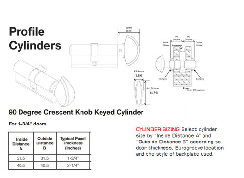 hoppe 90 degree cresent knob KEYED cylinder for 1 3/4 & 2 1/4 thick panels