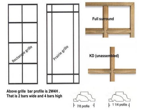Full surround Prairie style wood grilles for Semco casement windows