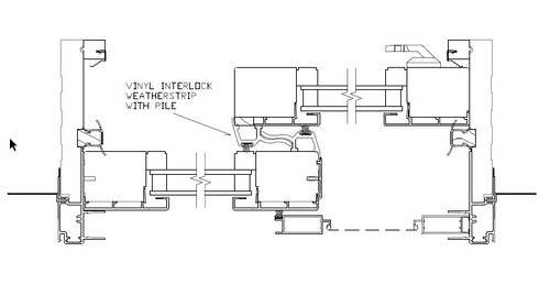 Park-Vue sliding door interlock with pile and screws