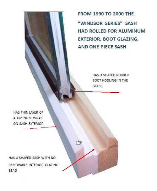 "Windsor ""Windsor series"" clad awning sash replacement vintage 1990 to 2000"