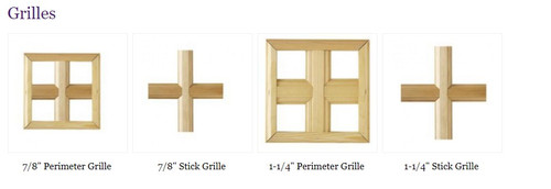"""Windsor set (comes with top and bottom) Pinnacle Double Hung """"RECTANGULAR STYLE"""" wood grilles"""