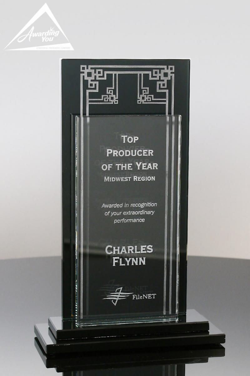 Engraved Glass Awards are popular for retirement gifts