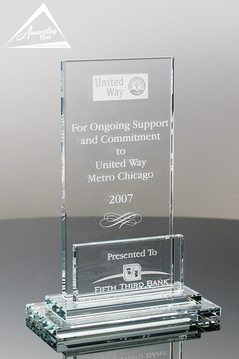 Memorialize an individual with an engraved glass award