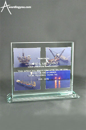 Glass Award Example with Full Color Photograph
