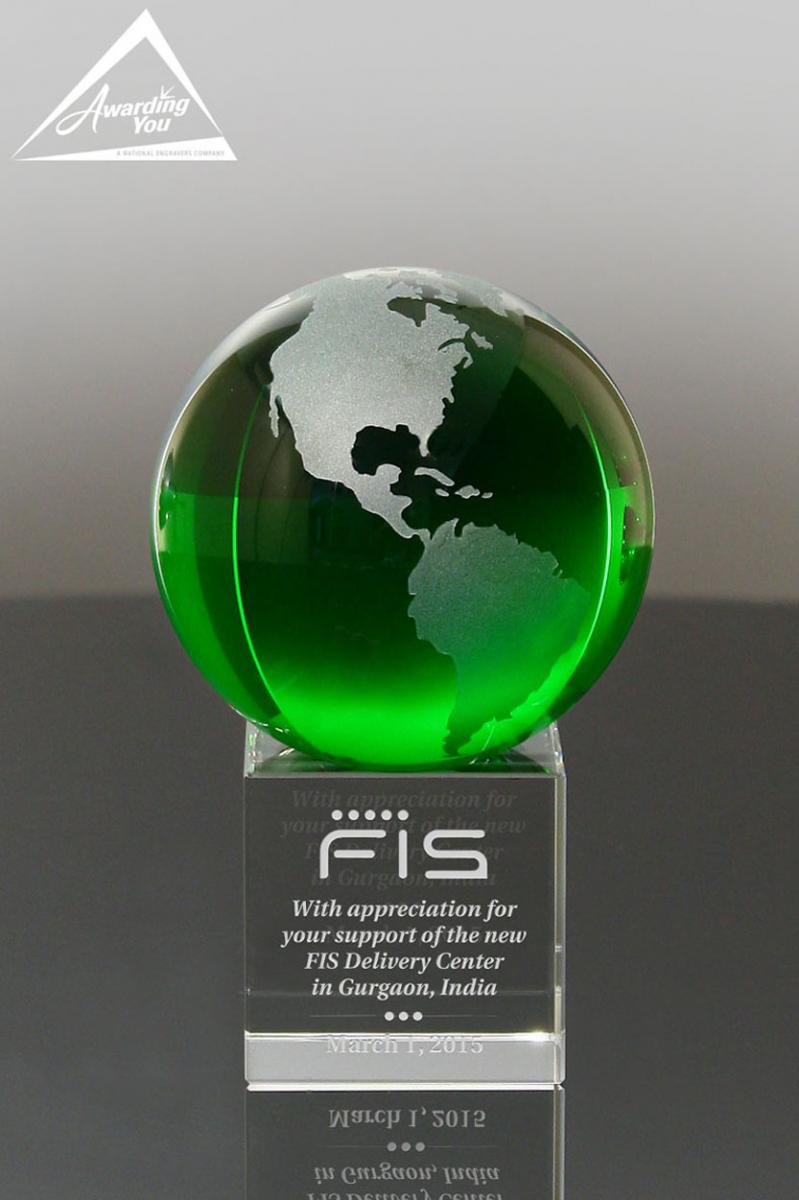 Green Frosted Crystal Globe Award