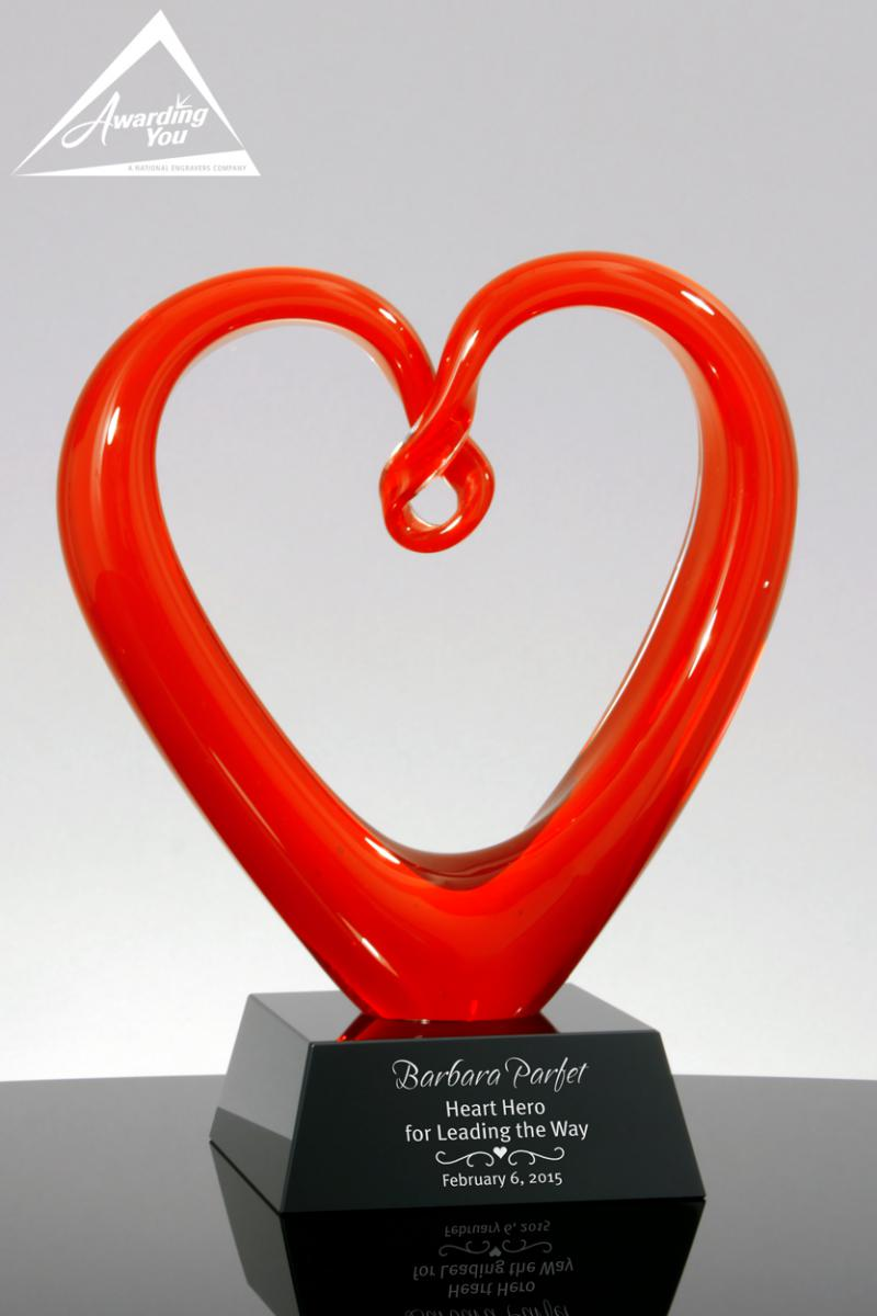 Crimson Red Heart Art Glass Award