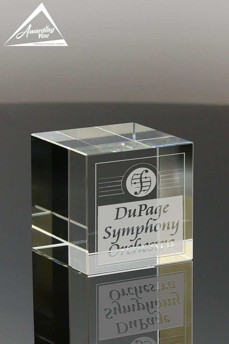 Recognize Nominees with this Crystal Cube Paperweight