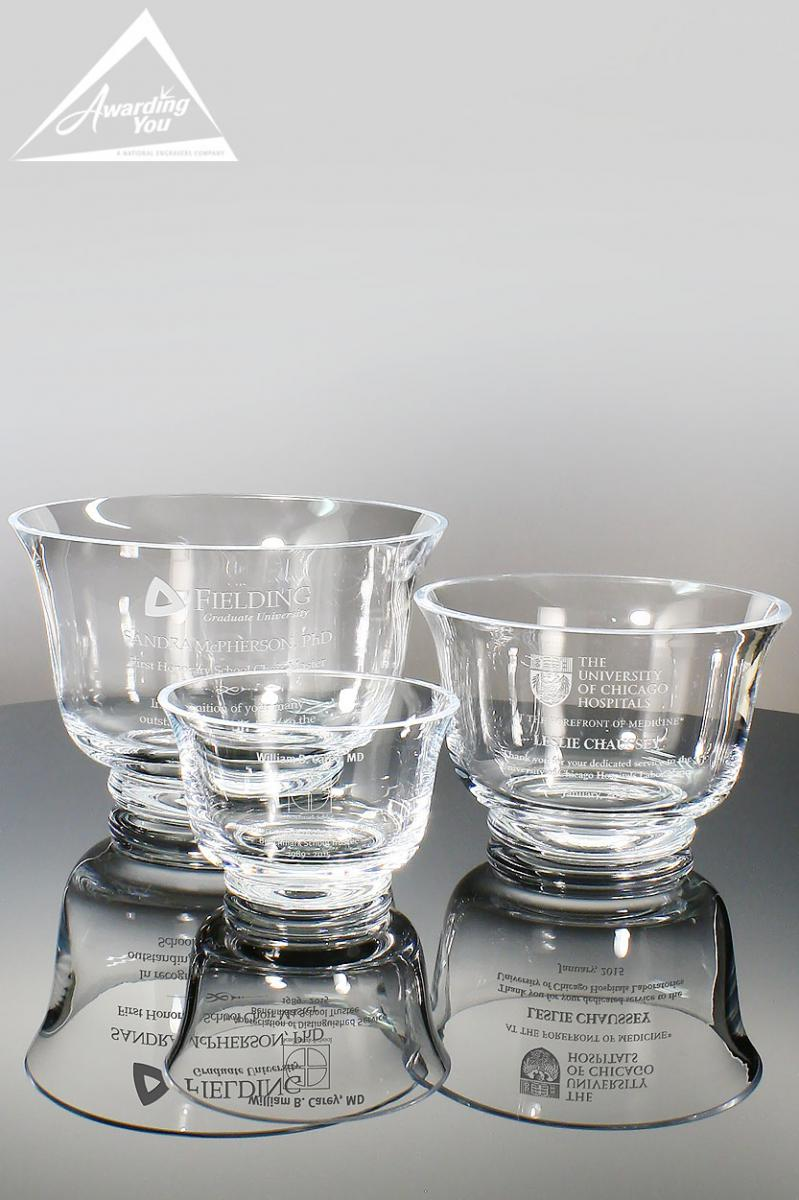 Engraved crystal Bowls and Vases are a popular thank you gift