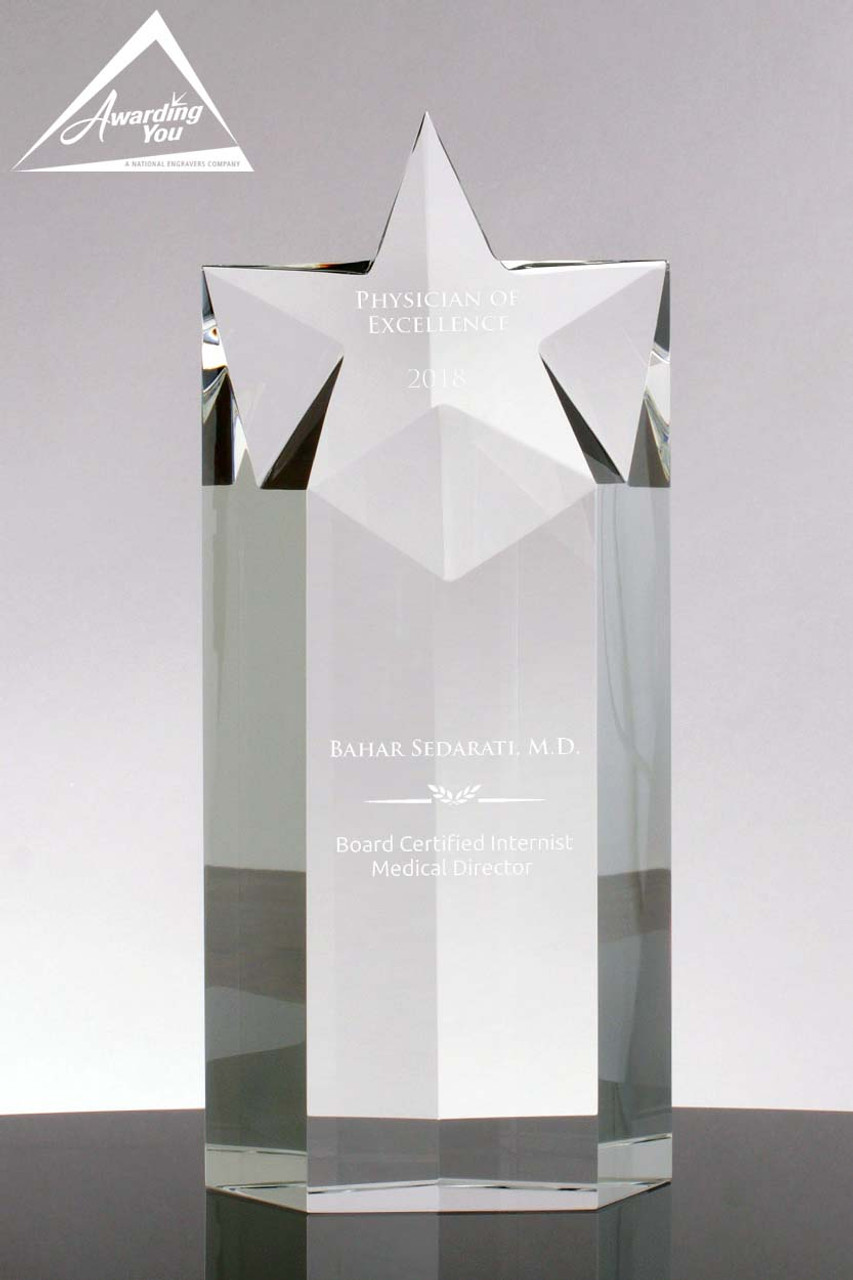Focus Star Optical Crystal Glass Trophy Free Engraving