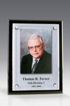 Tesla II Floating Glass Plaque Black with color photo