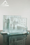 Custom Glass Award with Metal Backer and Paint Fill by Awarding You