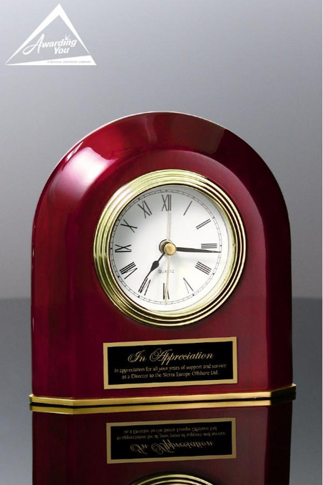 Rosewood Beveled Arch Clock Front View
