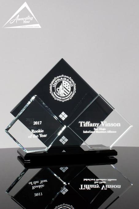 """White Tie Glass Award - 6.5"""" tall"""