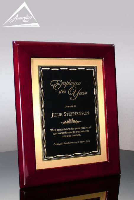 Sutton XL Rosewood Recogntion Plaque Front View