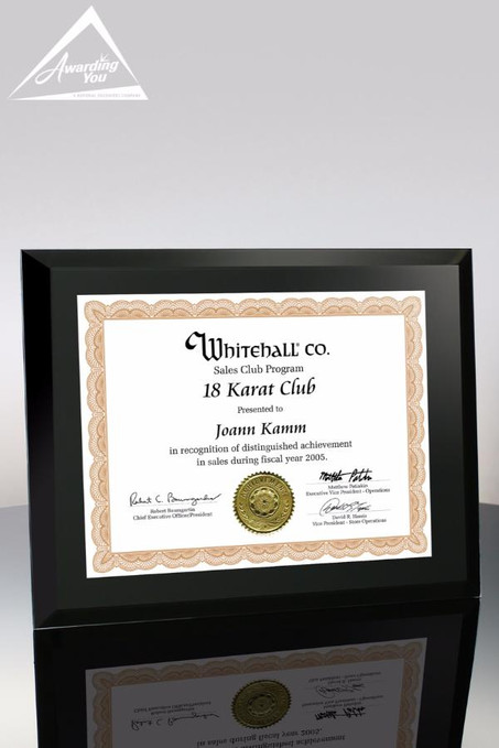 Onyx Black Glass Certificate Holder Front View