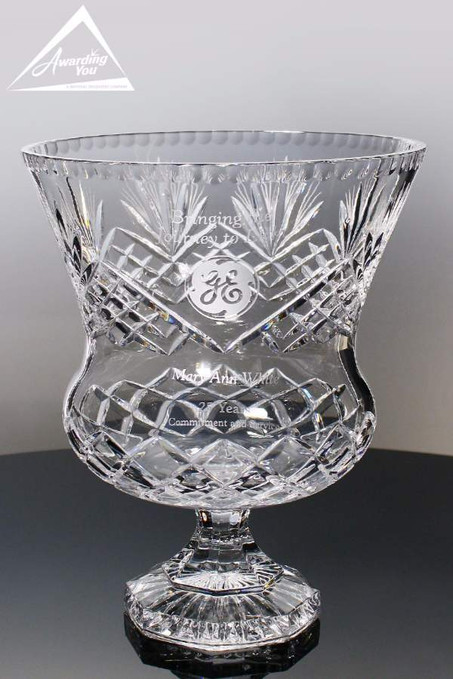 Vienna Crystal Trophy Vase Large Front View