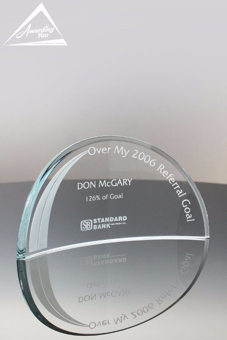 Crescent Moon Corporate Glass Award Medium Front View