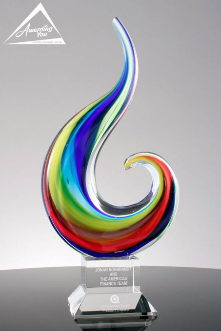 Spectrum Wisp Art Glass Award With Extra Base Alternate Color View