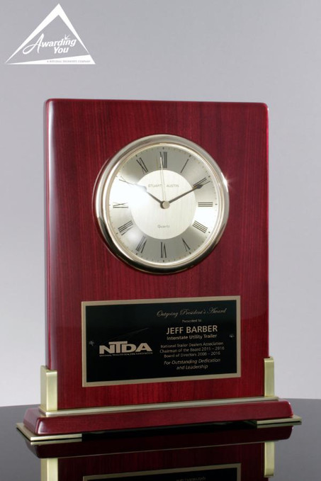 Champion Rosewood Clock Award - front view with engraving