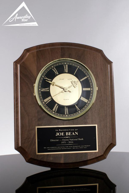 Boston Walnut Wall Clock Plaque Award