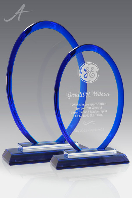 Hudson Blue Glass Oval Award Family