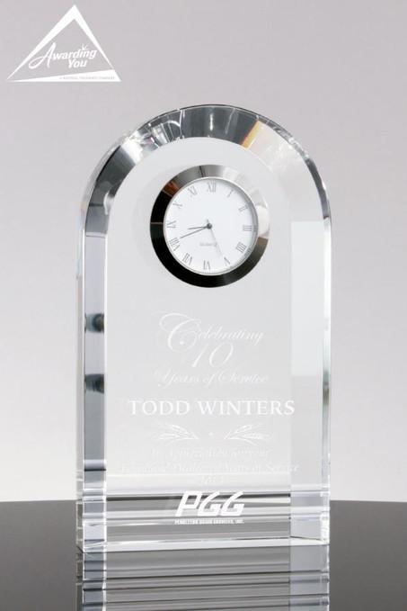 Bell Tower Crystal Clock - Engraving on Award