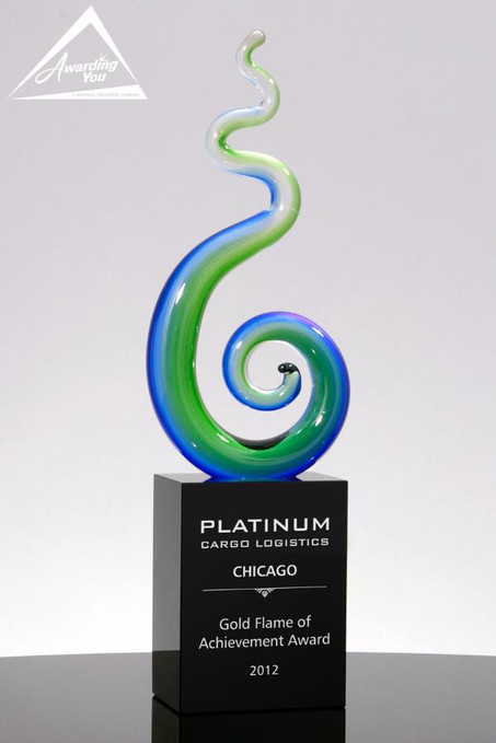 Spindle Blue and Green Art Glass Award - Front View