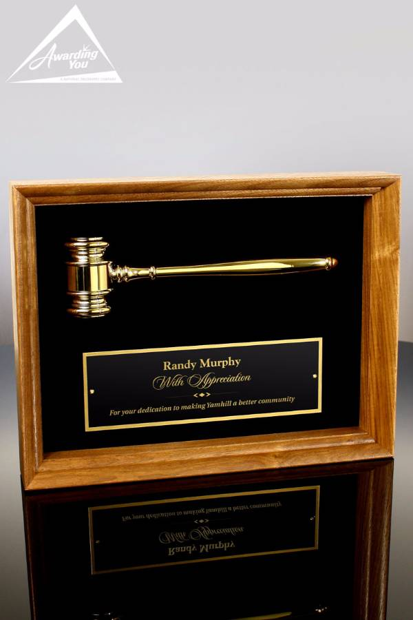 Vinson Engravable Brass Gavel Plaque Front View