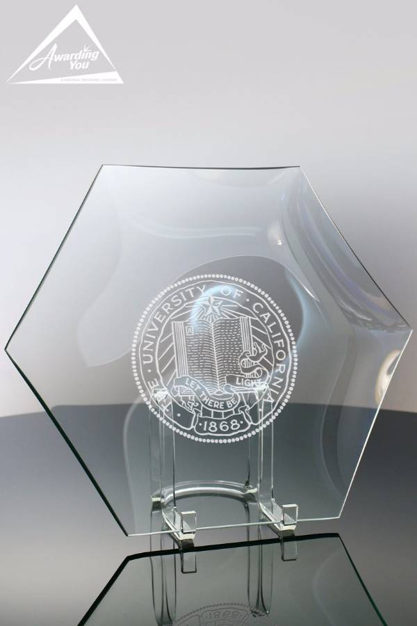Clear Glass Hexagon Plate Front View
