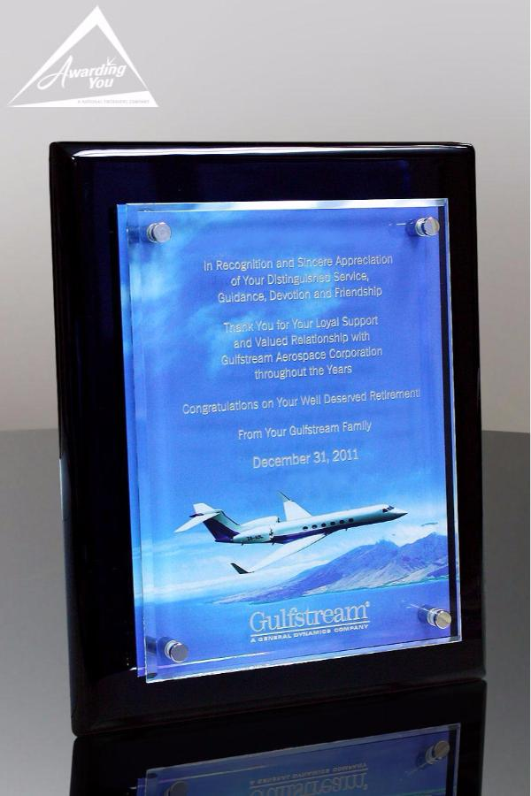 Tesla II Floating Glass Plaque Black with Full Color Plate Front View