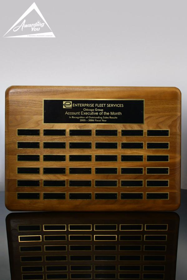 Wallace Walnut 15 x 21 Perpetual Plaque with 36 plates Front View