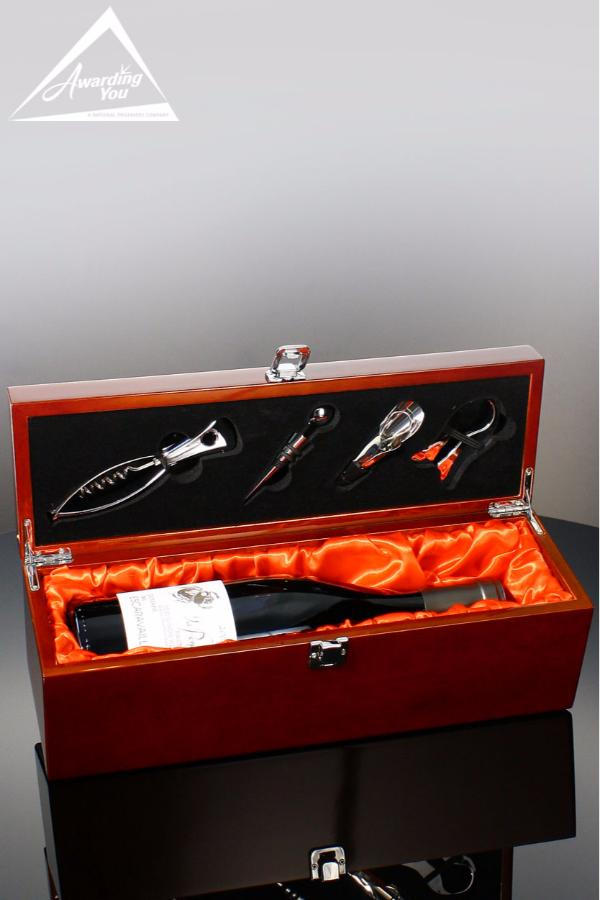 Eau-de-Vie Rosewood Wine Box with Tools Front View