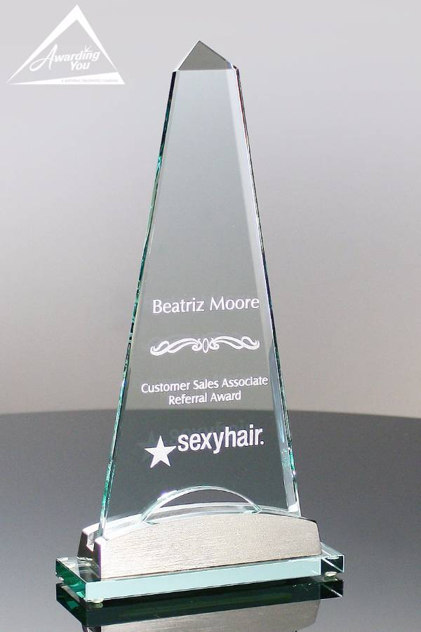 Salisbury Spire Glass Award Front View