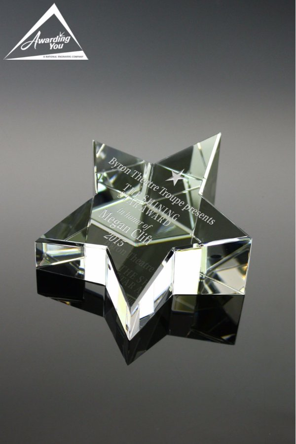 Rising Star Paperweight Front View
