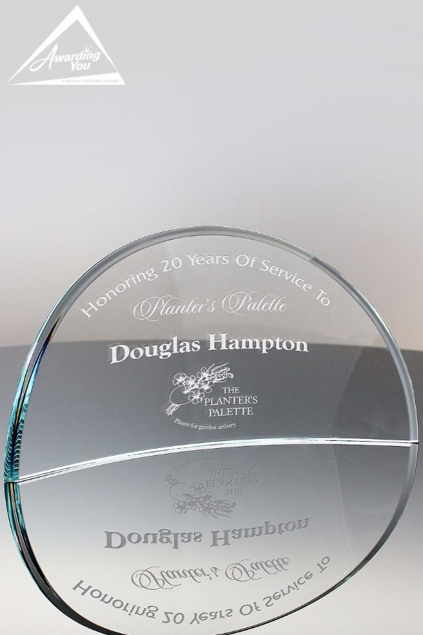 Crescent Moon Corporate Glass Award Front View