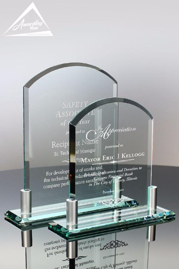 Beveled Billboard Clear Glass Award Family View