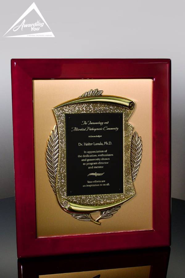 Cyrus Gold Rosewood Plaque
