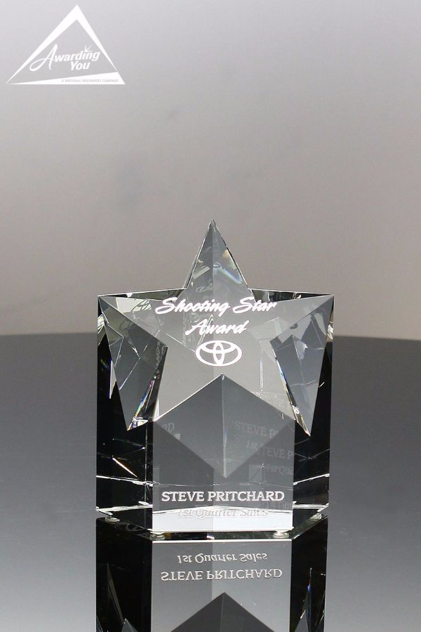 "Small 5"" Pro Star Crystal Award Front View"