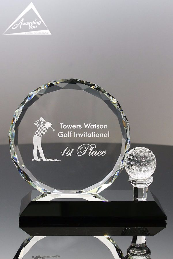 Optic Crystal Golf Award Front View