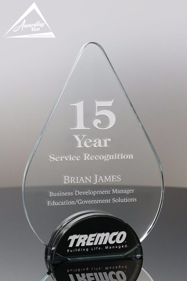 1844 Aqua Glass Years of Service Recognition Award by Awarding You Large Front View