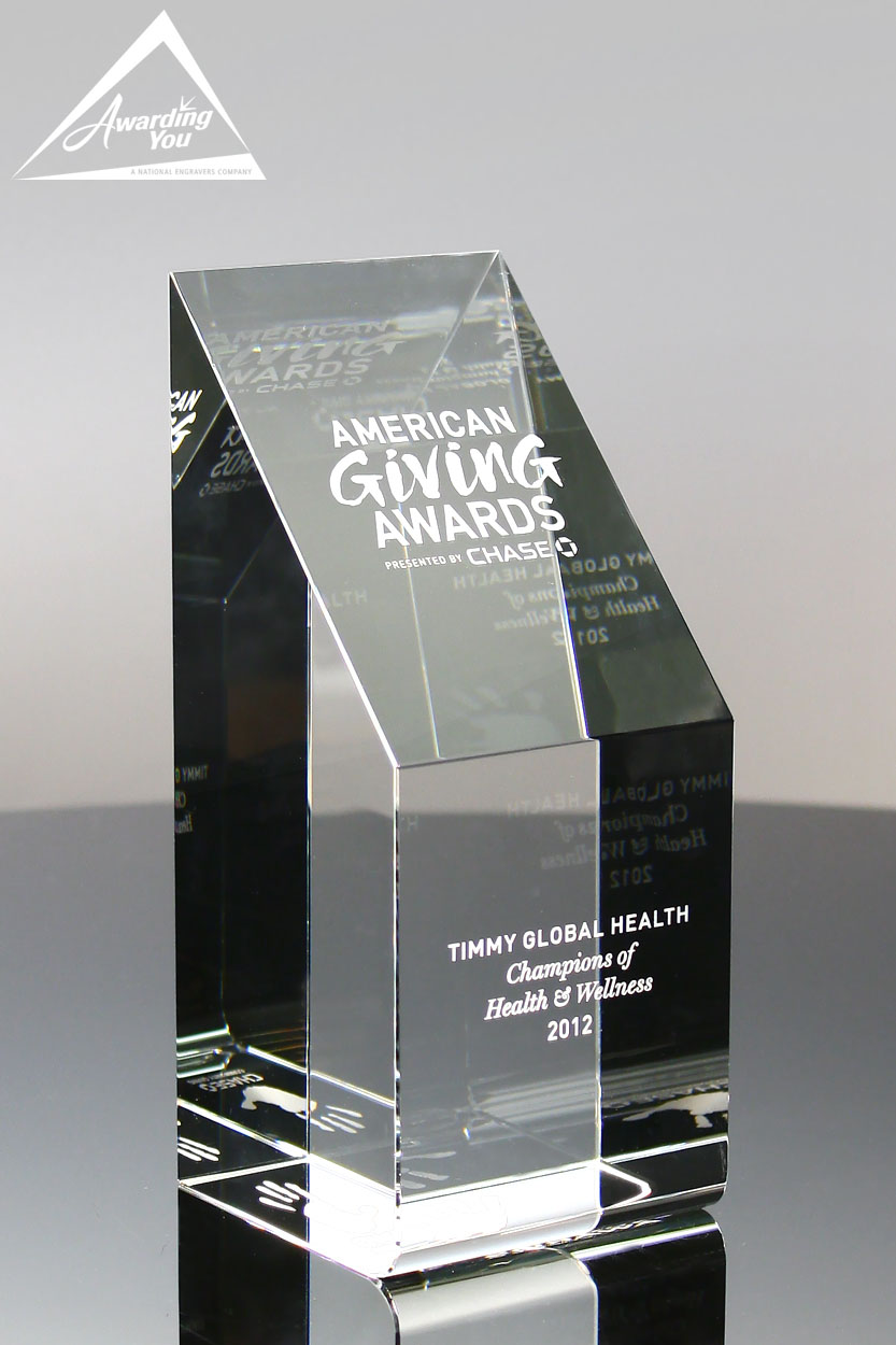 Custom Solid Crystal Wedge Award by Awarding You