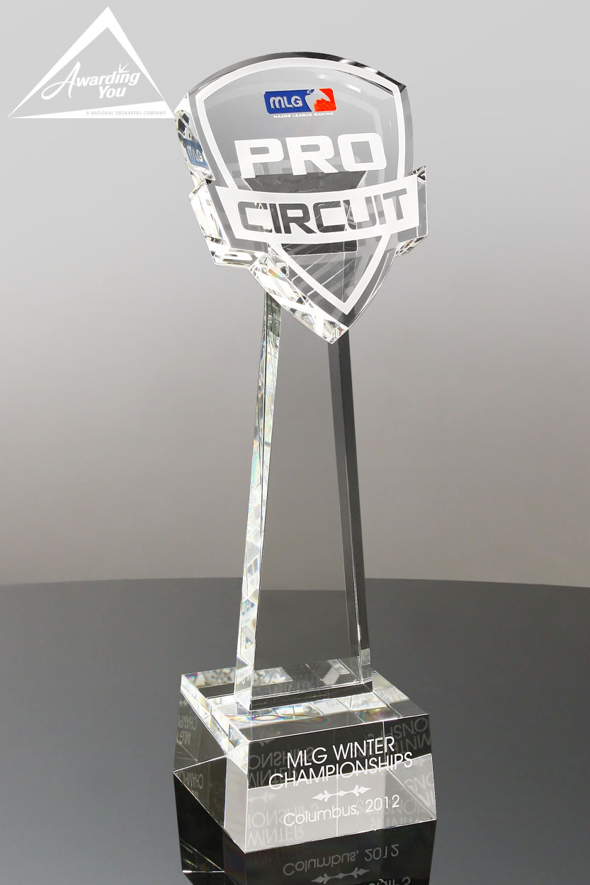 Custom Crystal Trophy Award With Colored Text by Awarding You