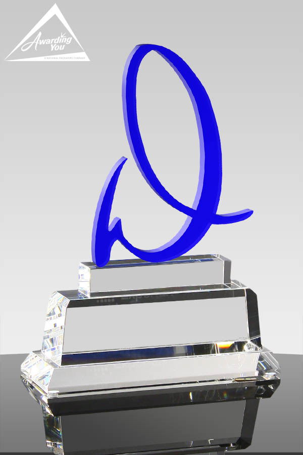Custom Blue Crystal Award In Shape of Letter by Awarding You
