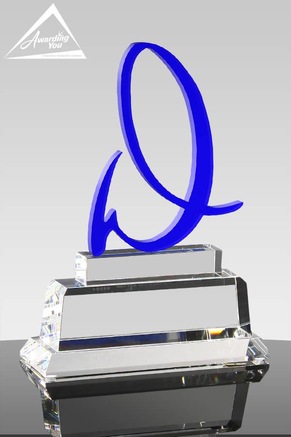 Custom Blue Crystal Award In Shape of Letter by Awarding You